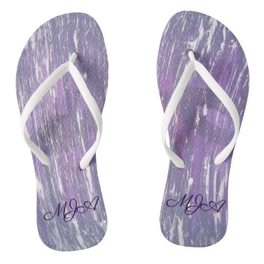 Disillusioned Style | Monogram Purple Silver | Flip Flops