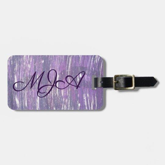 Disillusioned Travel   Monogram Purple Silver   Luggage Tag