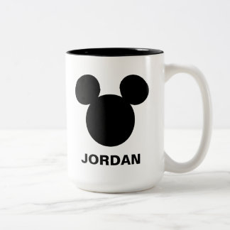 Disney Logo | Black Mickey Icon Two-Tone Coffee Mug