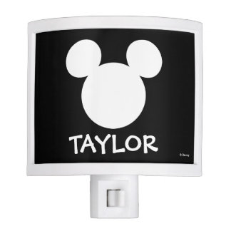 Disney Logo | White Mickey Icon - Add Your Name Night Light