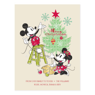 Disney | Mickey & Minnie | Classic Christmas Tree Postcard