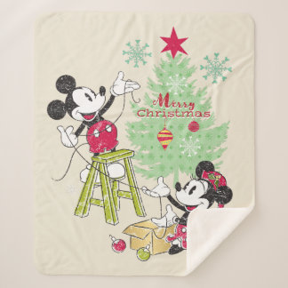 Disney | Mickey & Minnie | Classic Christmas Tree Sherpa Blanket