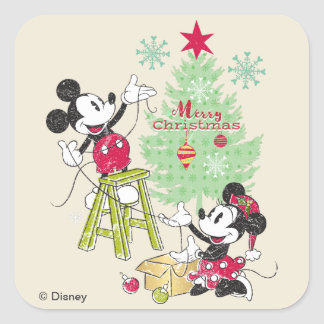 Disney | Mickey & Minnie | Classic Christmas Tree Square Sticker