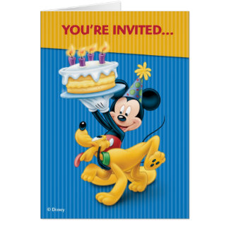 Disney Mickey Mouse & Pluto Birthday Party Card