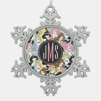 Disney Princess | Monogram Oversized Pattern Snowflake Pewter Christmas Ornament