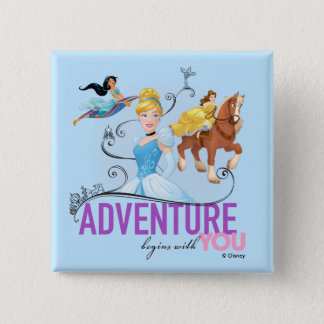 Disney Princesses   Adventure Begins With You 2 Inch Square Button
