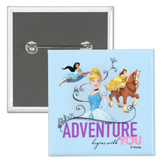 Disney Princesses | Adventure Begins With You 2 Inch Square Button