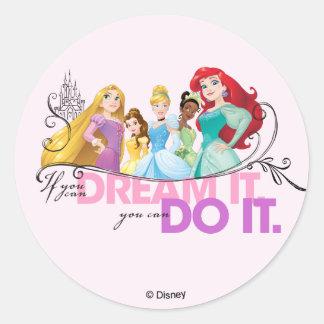 Disney Princesses | Never Give Up Classic Round Sticker