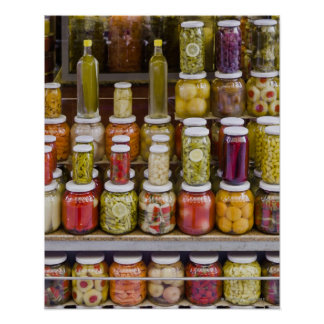 Display of pickled fruits and vegetables. poster
