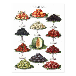 Display of Various Fruits on Platters Postcard