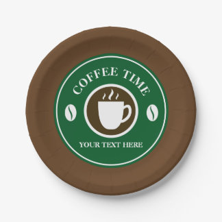Disposable plates with custom coffee cup design