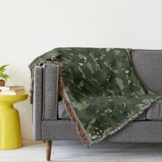 Disruptive khaki camouflage throw blanket