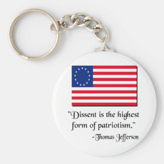Dissent is the hightest form of patriotism. basic round button keychain