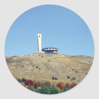 Distant Buzludzha, Balkan Mountains, Bulgaria Classic Round Sticker