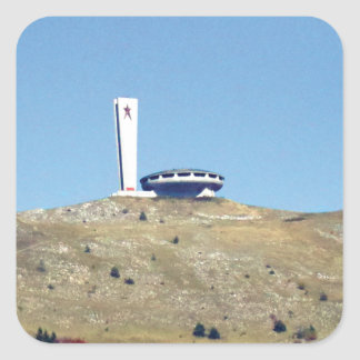 Distant Buzludzha, Balkan Mountains, Bulgaria Square Sticker