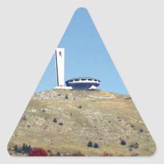Distant Buzludzha, Balkan Mountains, Bulgaria Triangle Sticker