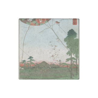Distant view of Akiba of Enshu, kites of Fukuroi Stone Magnets