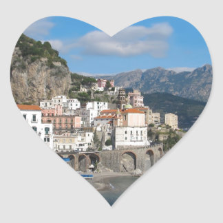 Distant view of Atrani on Amalfi coast Heart Sticker