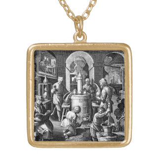 Distillation in an Alchemy Lab Gold Plated Necklace