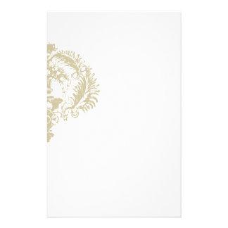 Distinction: Gold White Damask Design Stationery