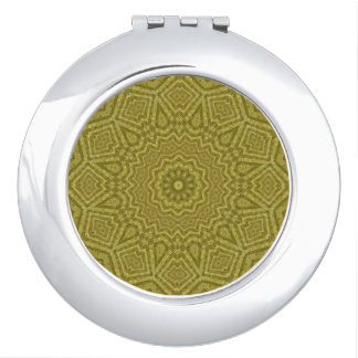 Distinctive Olive and Gold Mandala Kaleidoscope Makeup Mirrors