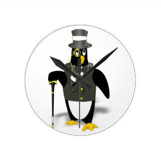 distinguished, debonair Mr. penguin Round Clock