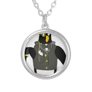 distinguished penguin silver plated necklace