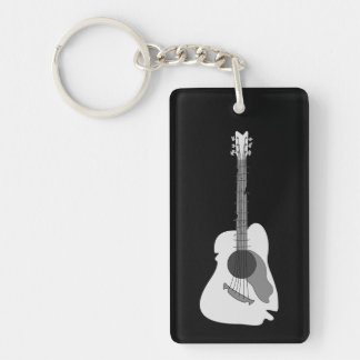 Distorted Abstract Acoustic Guitar Keychain