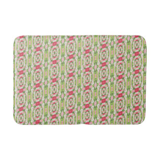 Distorted Watercolor Pink White Green Red Floral Bath Mat