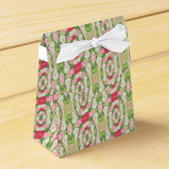 Distorted Watercolor Pink White Green Red Floral Favor Box