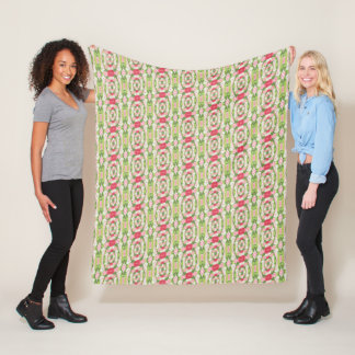 Distorted Watercolor Pink White Green Red Floral Fleece Blanket