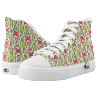 Distorted Watercolor Pink White Green Red Floral High Tops
