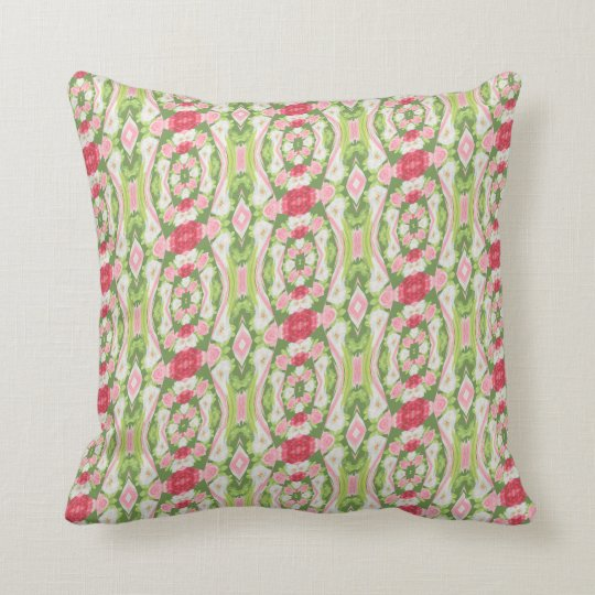Distorted Watercolor Pink White Green Red Floral Throw Pillow