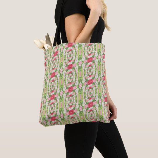 Distorted Watercolor Pink White Green Red Floral Tote Bag