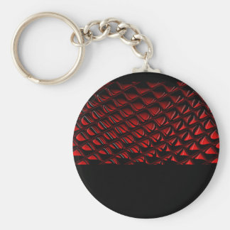 Distortion red and black abstract art keychain