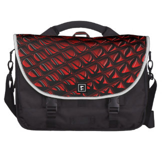 Distortion red and black abstract art commuter bags