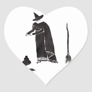 Distracted Witch Heart Sticker