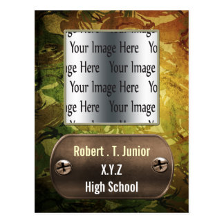 distress green camo Graduation photo Invitation Postcard