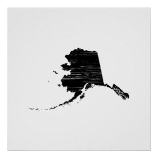 Distressed Alaska State Outline Poster