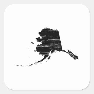Distressed Alaska State Outline Square Sticker