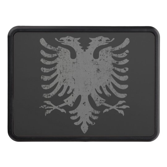 Distressed Albanian Eagle Coat Of Arms Trailer Hitch Cover