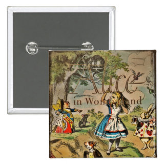 Distressed Alice and Friends Cover 2 Inch Square Button