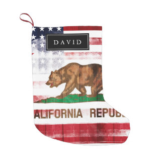 Distressed American Californian Flag | Custom Name Small Christmas Stocking