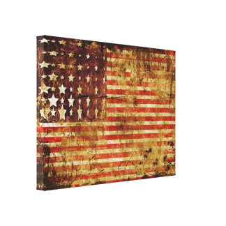 Distressed American Flag Canvas Wrap