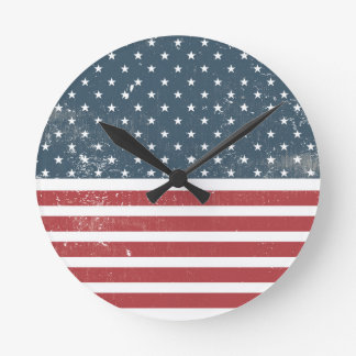 distressed american flag clocks