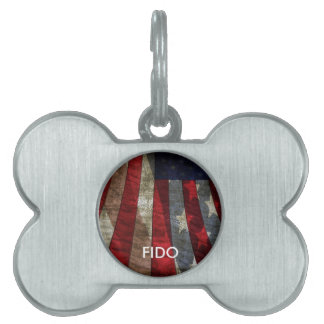 Distressed American Flag Design with JFK Quote Pet Name Tags