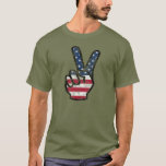 Distressed American flag Hand Peace Sign T-Shirt