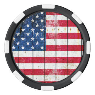 Distressed American Flag On Planks Poker Chips