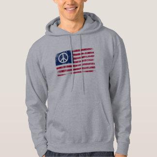 Distressed American Flag & Peace Symbol Hoodie