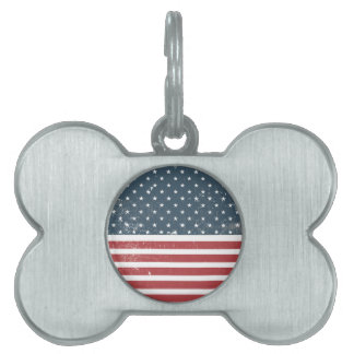 distressed american flag pet tag